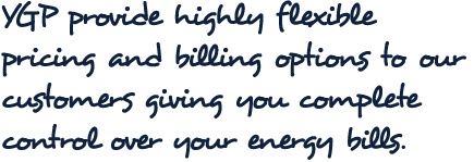 YGP provide highly flexible pricing and billing options to our customers giving you complete control over your energy bills